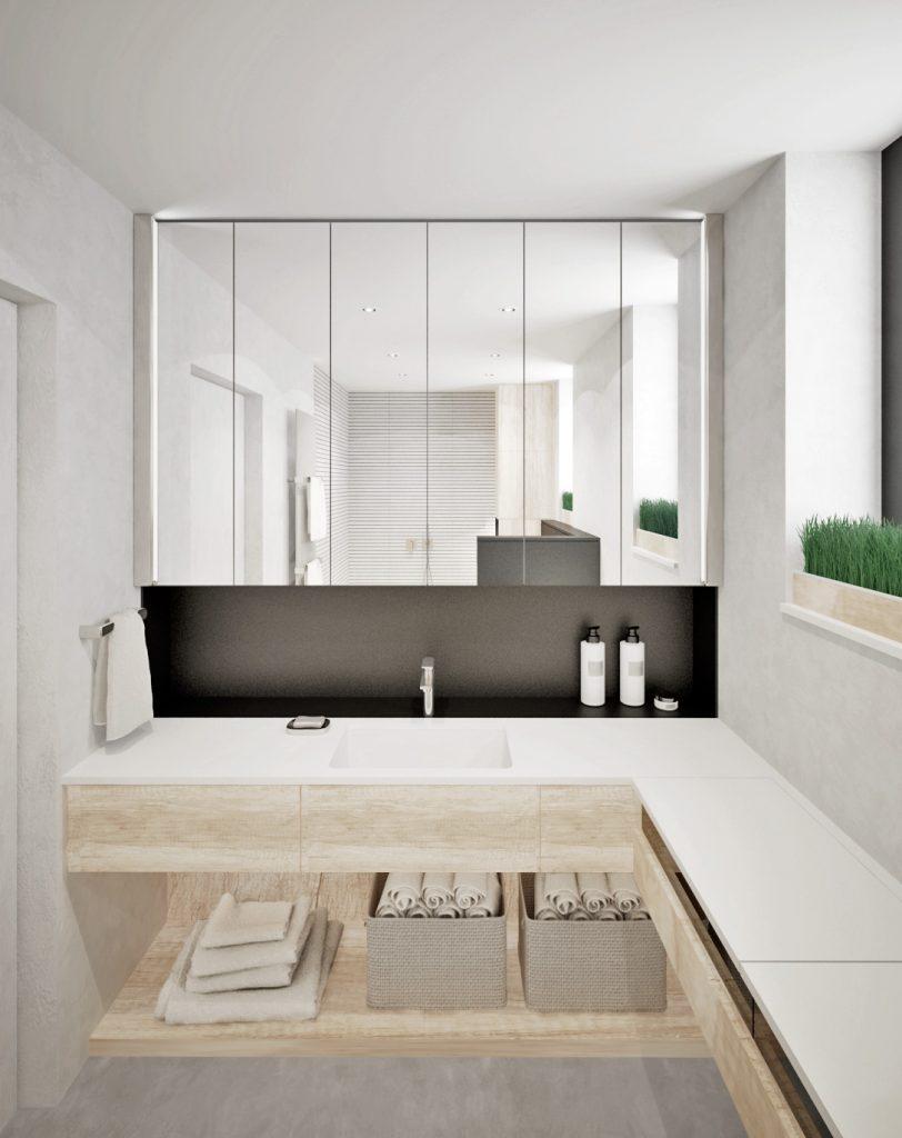 Moderná kúpelňa so zrkadlovou skrinkou