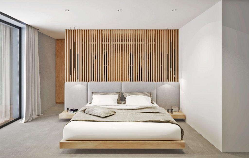 Netradičné riešenie čela postele, ktoré poskytuje priehľad do šatníka