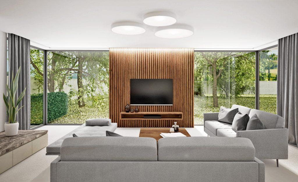 Drevená zástena za televízorom
