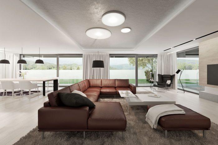 Moderná obývačka s koženou sedačkou