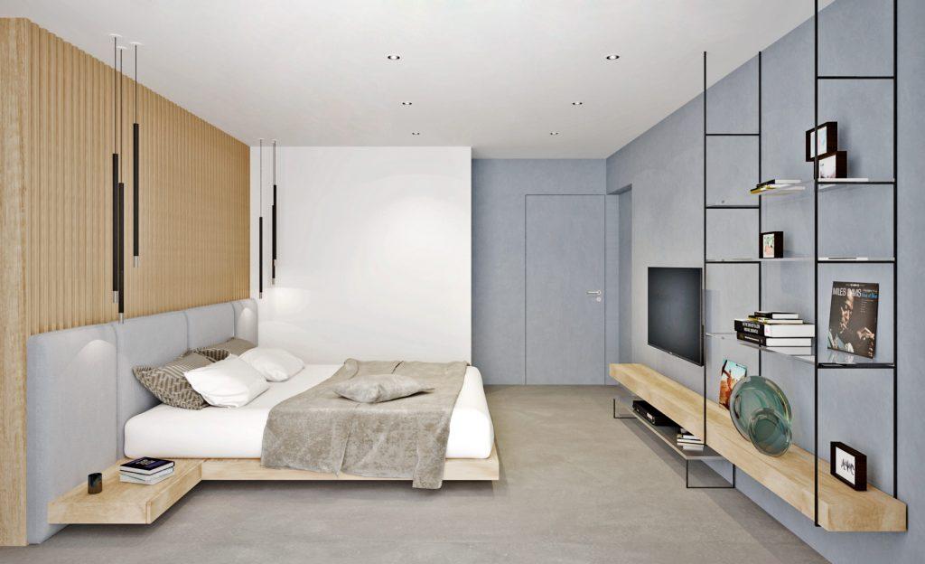 Moderná útulná spálňa s liatou podlahou