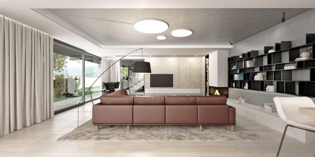 Hnedá kožená sedačka dominantou interiéru rodinného domu