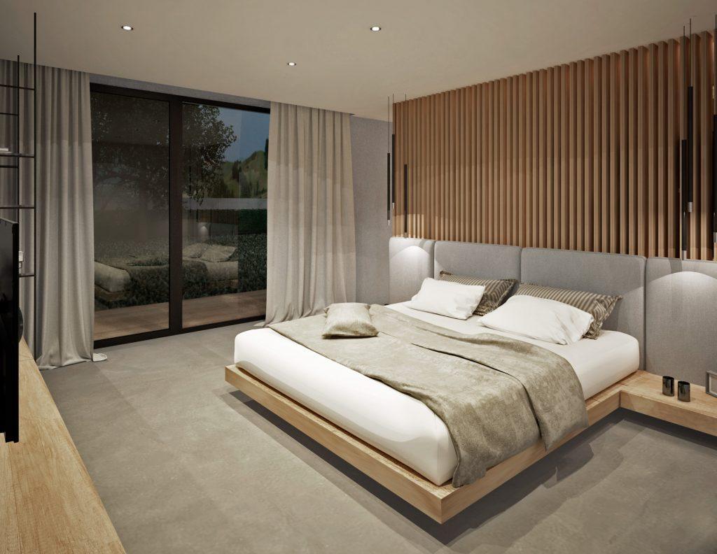 Príjemné čalúnené záhlavie postele