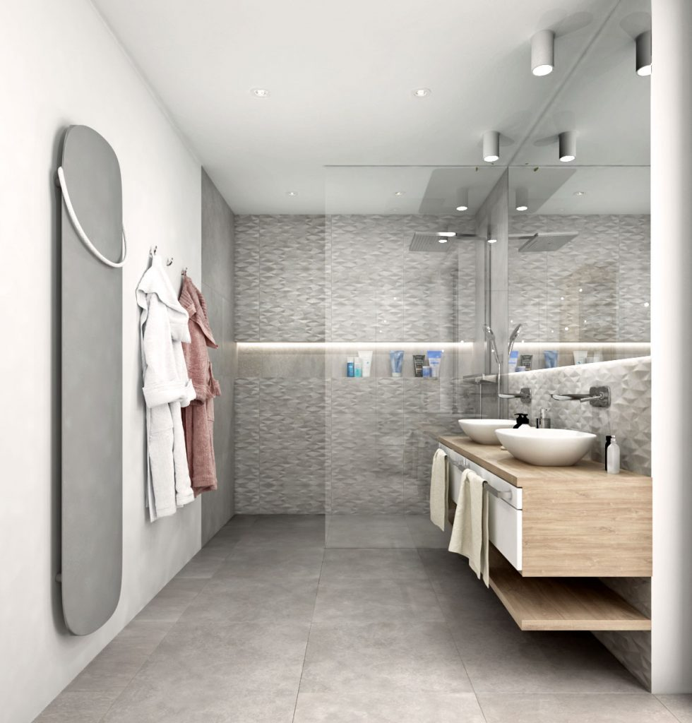 Horizontálna nika na šamony v sprchovom kúte