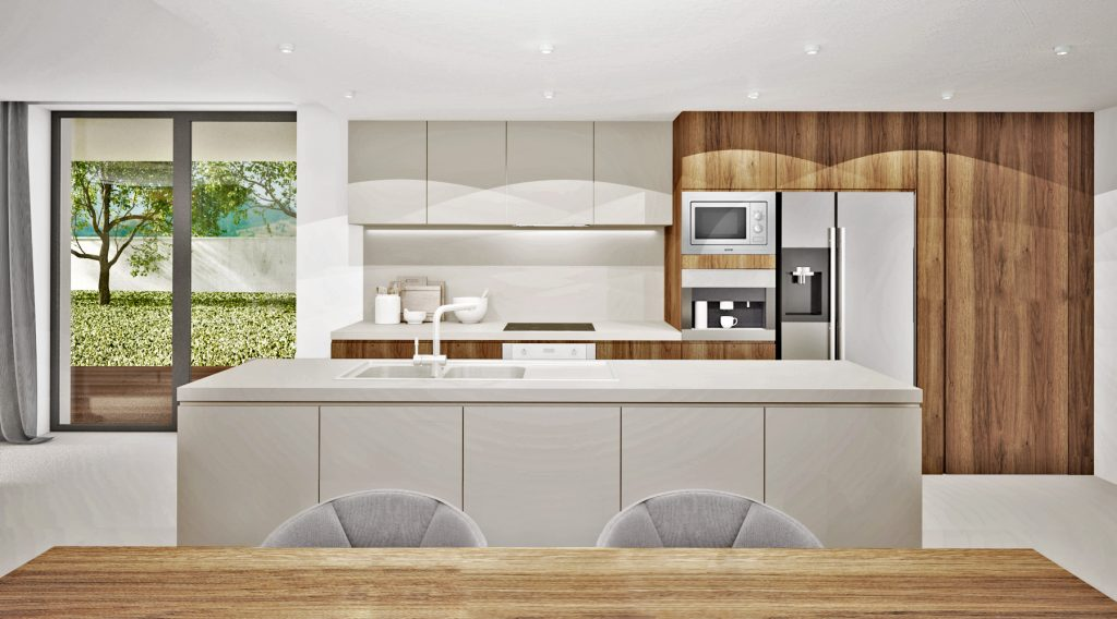 Smotanovo-drevená kuchyňa