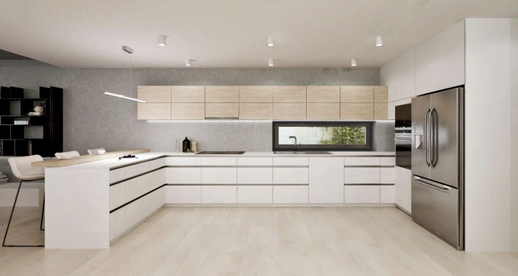 Moderná kuchyňa vo farbách biela- drevo a americká chladnička