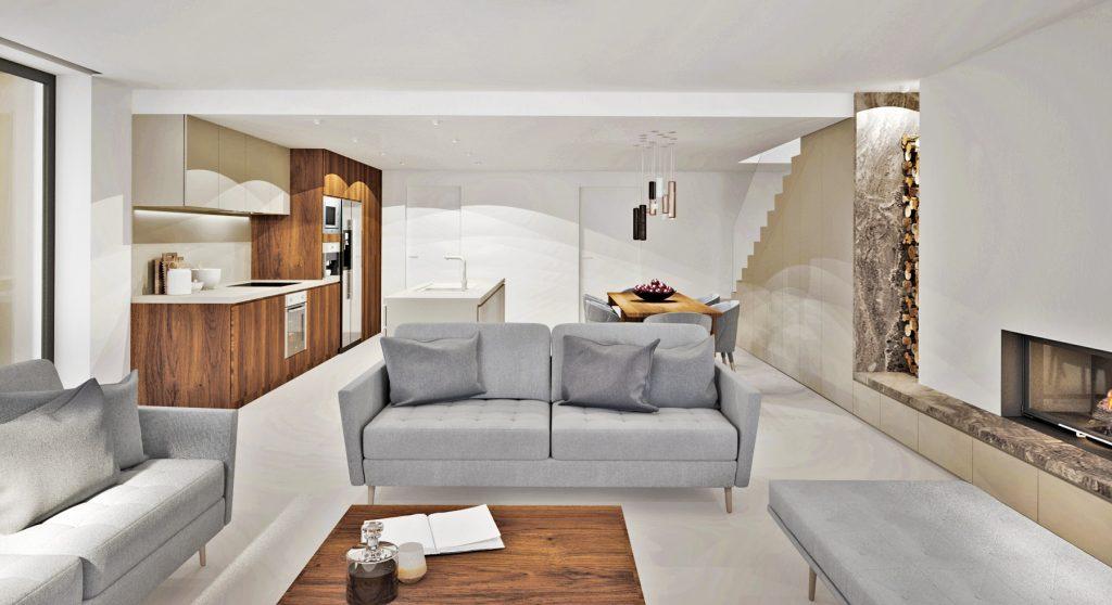 Útulný obytný priestor s použitím dreva