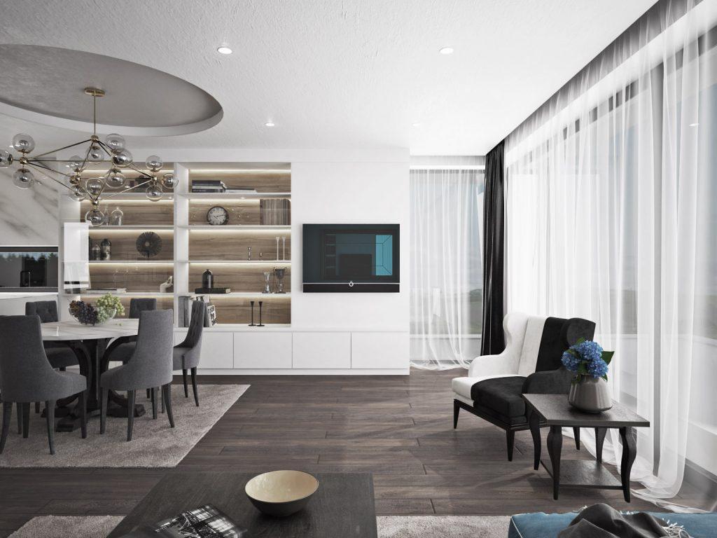 Moderný interiér s klasickými prvkami