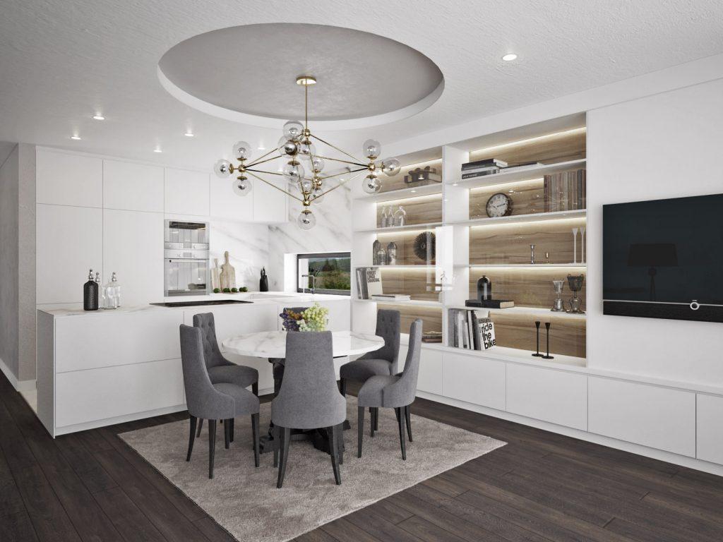 Moderná kuchyňa s klasickým jedálenským kútom