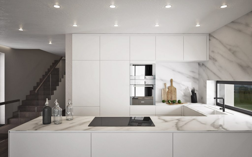 Moderná biela kuchyňa s mramorom