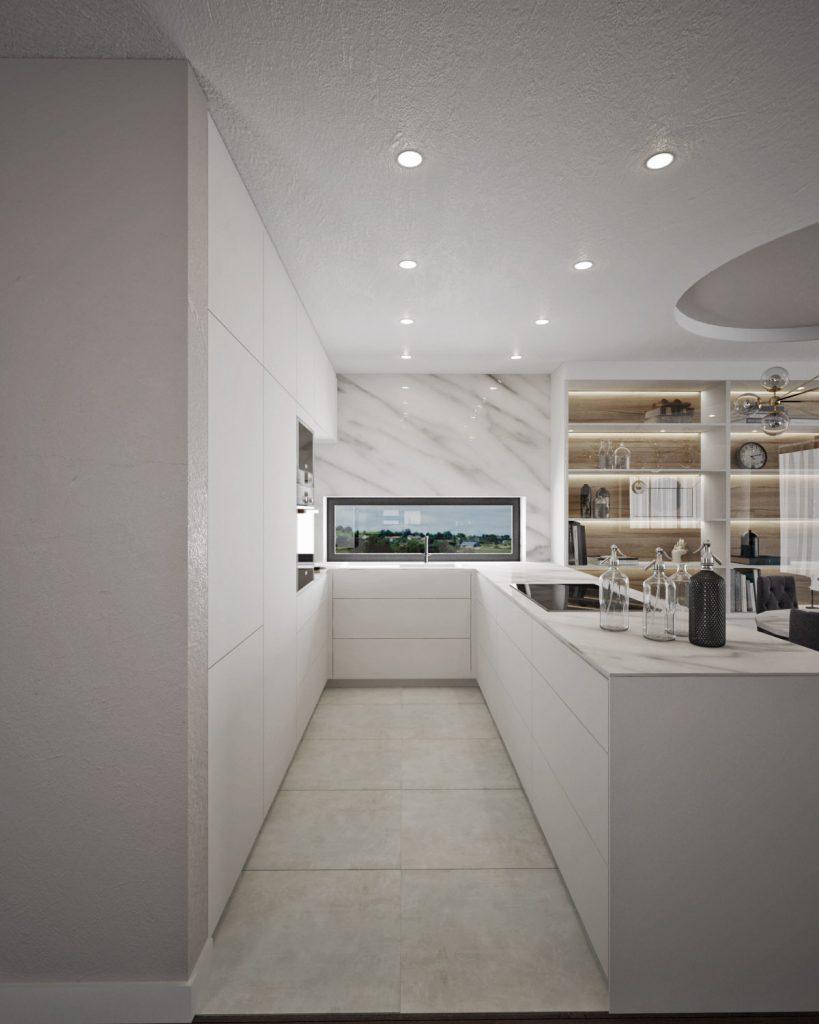 Biela lesklá kuchyňa s mramorom