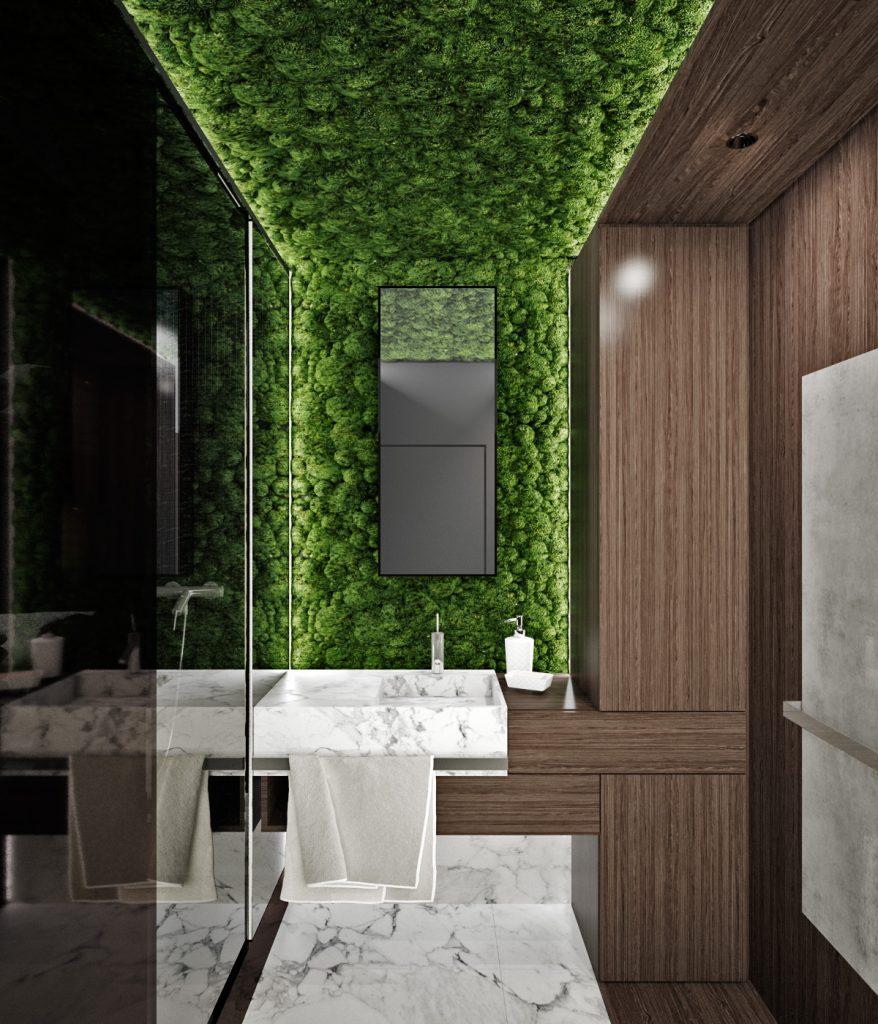 Moderná kúpelňa s machom na strope a stene návrh