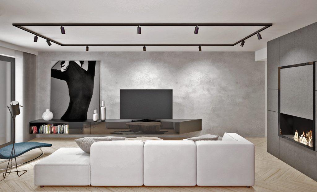 Návrh interiéru obývačky bytu pre mladého pána