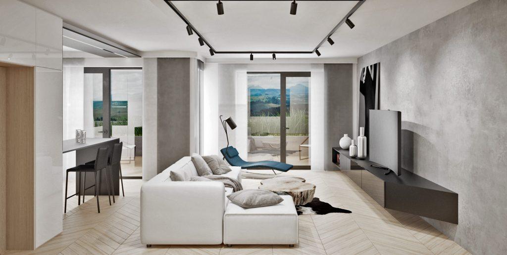 Monochromatický interiér príjemne dopĺňa drevo a farebné kresielko