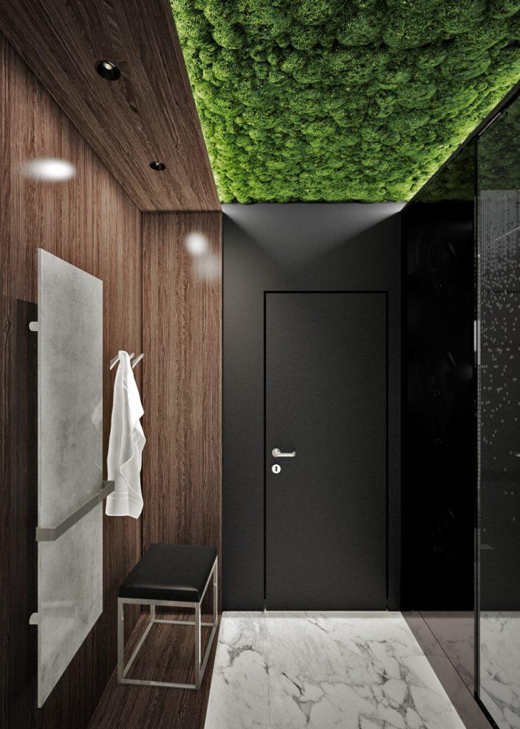 Machový strop v kúpelni