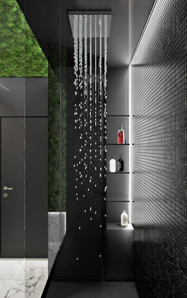 Čierny sprchový kút