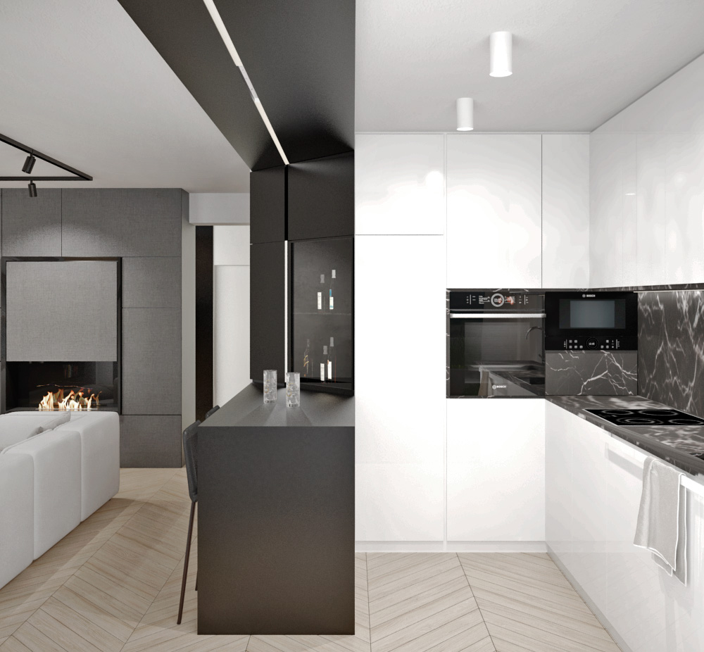 Moderná kuchyňa s jedálenským stolom