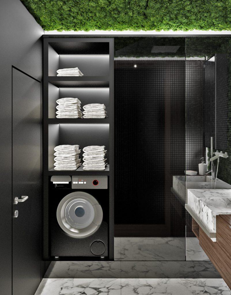 Skriňa s práčkou a sprchový kút v kúpelni bytu