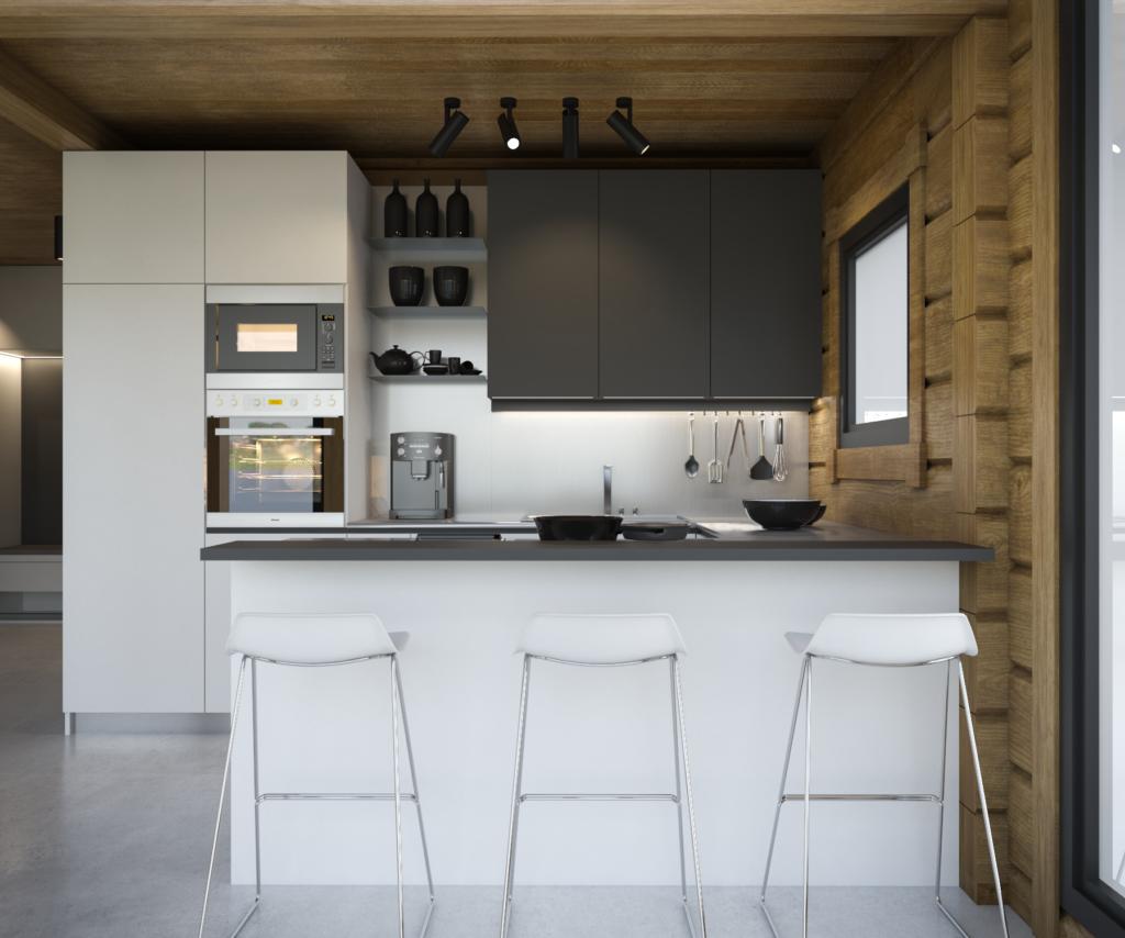 Návhr modernej kuchyne v kontrastnom prevedení so zrubovým domom.