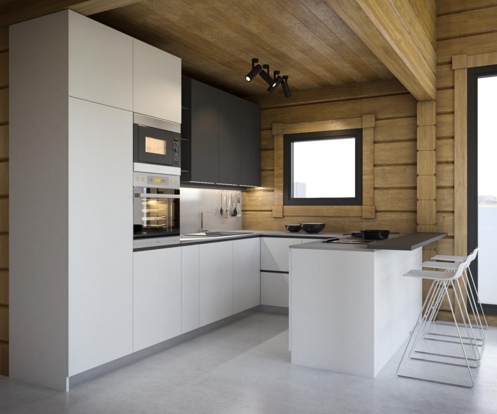 Moderná kuchyňa s barovým pultom.