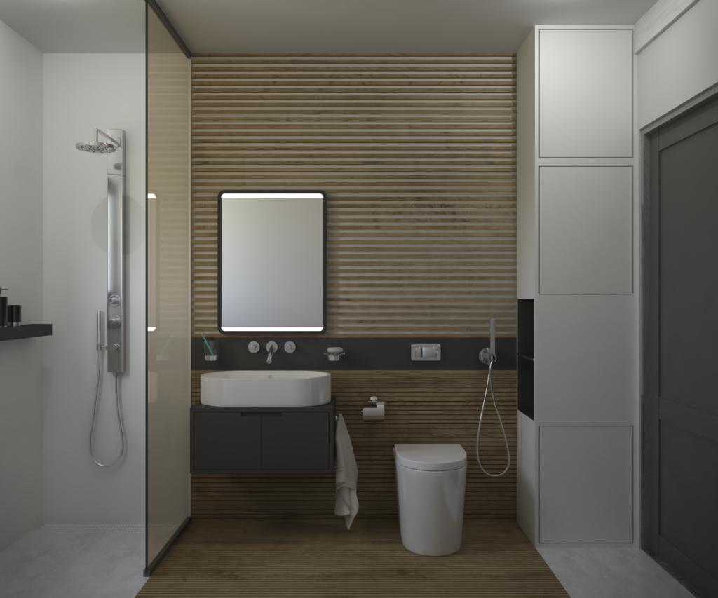 Monochromatická kúpeľňa s akcentujúcim dreveným obkladom.