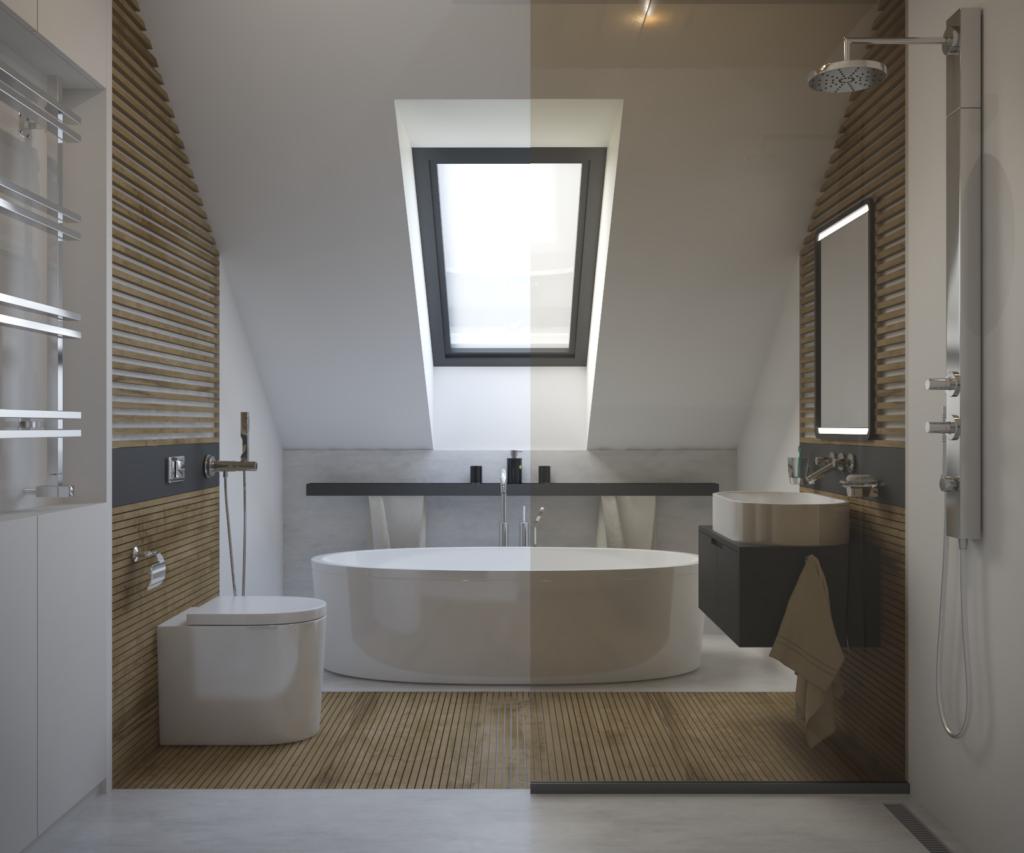 Kúpelňa na druhom podlaží pozostáva z rovnakého riešenia ako na prízemí s rešpektom voči šikmej streche.
