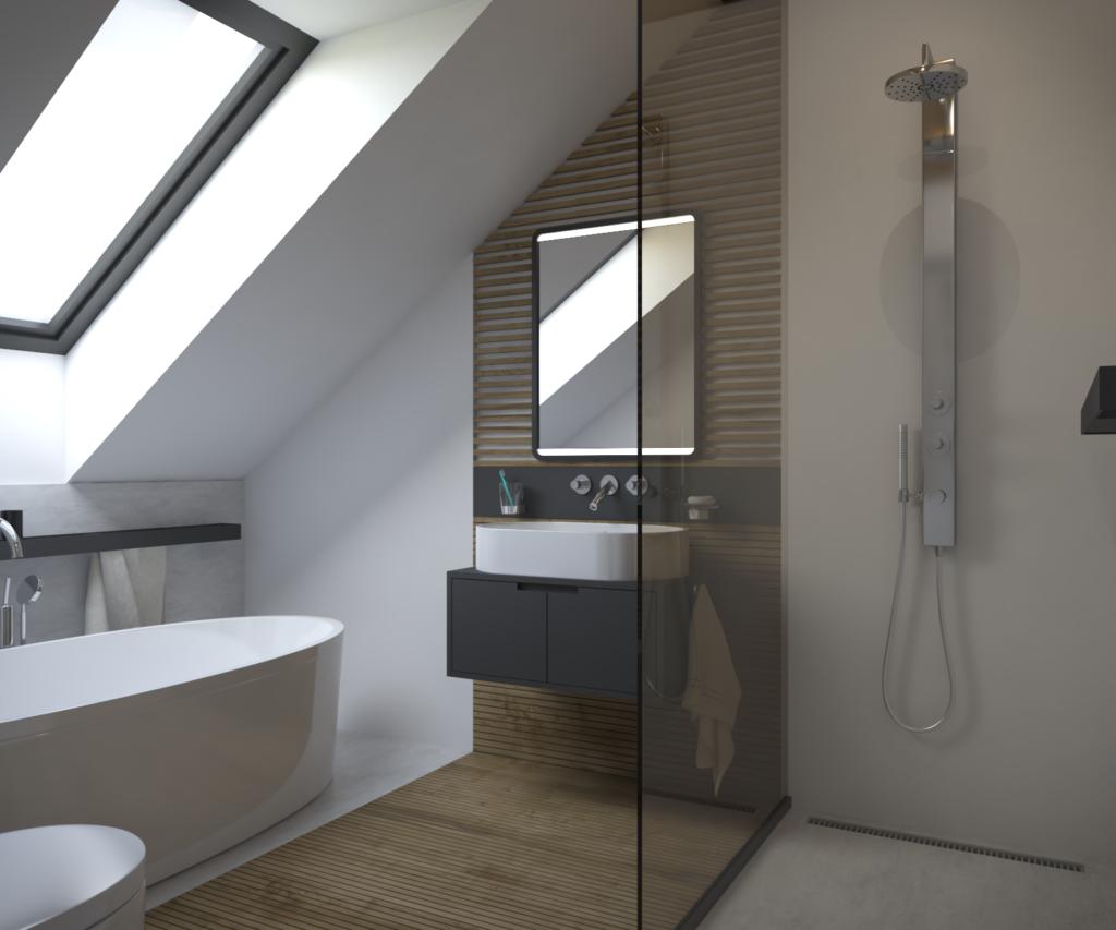Šikmý pohľad na jednoduchý sprchový pult a akcentujúci drevený obklad.