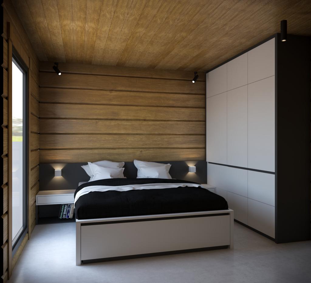 Kontrastná spálňa s výsuvnou prístelkou vrámci postele.