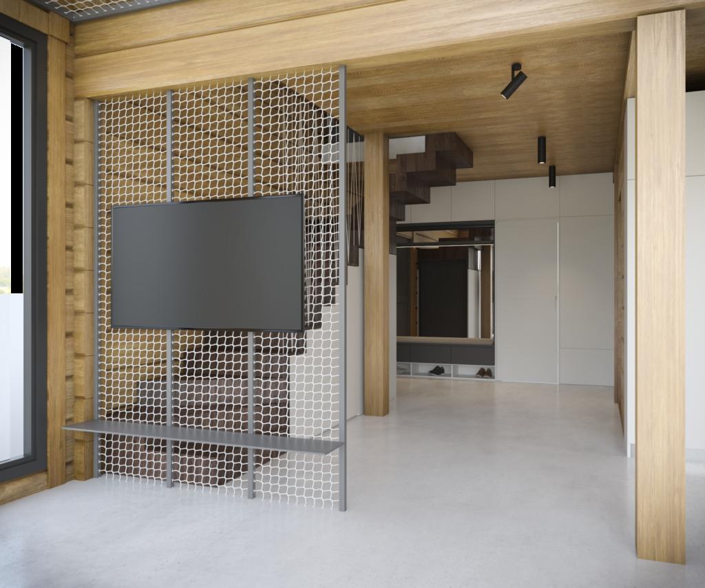 Subtilné riešenie zásteny oddeľujúcej schodisko od obývacej časti s Tv na otočnom ramene.