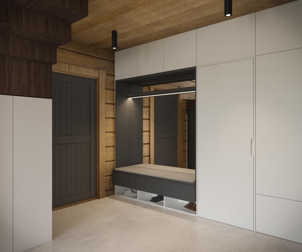 Kontrastný vstupný priestor s nikou na sedenie, úložným priestorom a schovanými dverami do práčovne.