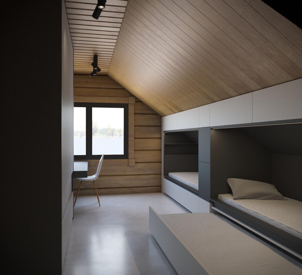 Kontrastný návrh detskej izby, s postelovým blokom, ktorý využíva nižší priestor pod šikmou strechou. Postelová sústava pozostáva z dvoch hlavných lôžok, dvoch výsuvných lôžok a výsuvných úložných priestorov.